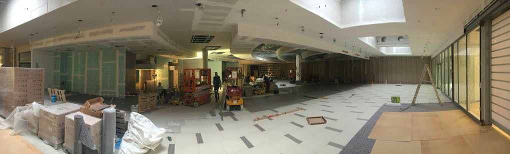 Bauarbeiten auf der Verkaufsfläche der Koch Fachfleischerei im NeißePark Görlitz.